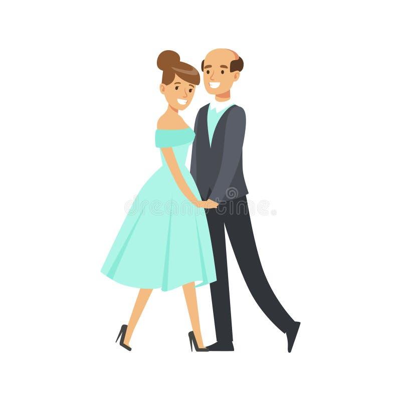 Ευτυχής ζευγών χορεύοντας αιθουσών χορού διανυσματική απεικόνιση χαρακτήρα χορού ζωηρόχρωμη απεικόνιση αποθεμάτων