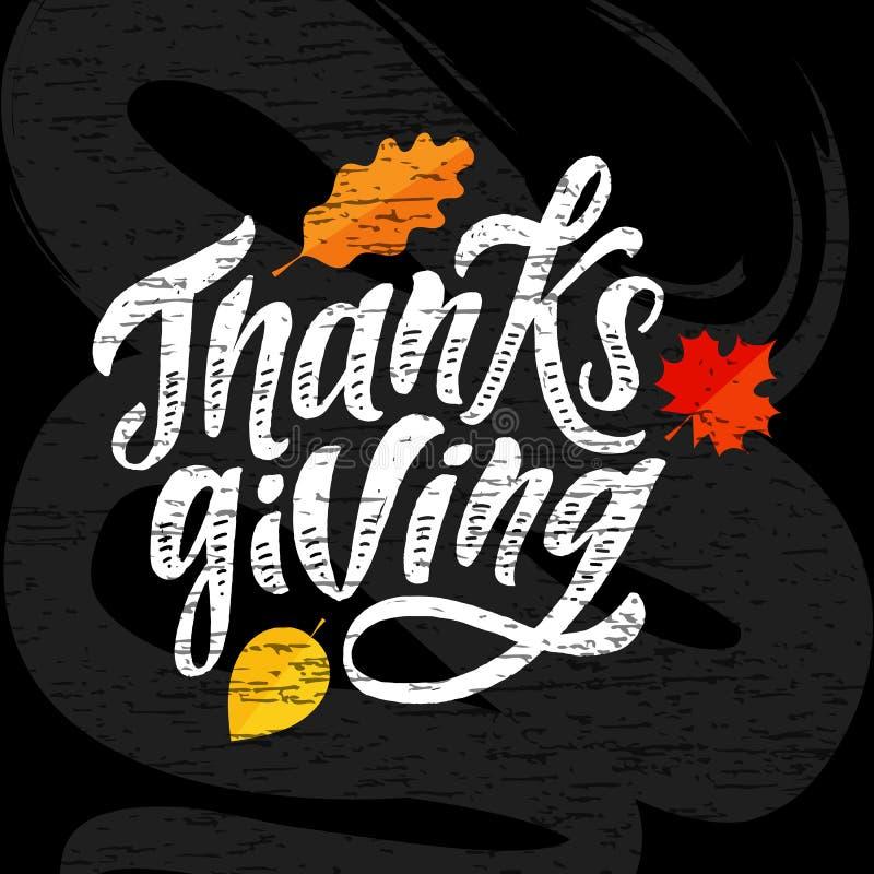 Ευτυχής ημέρας των ευχαριστιών γράφοντας καλλιγραφίας βουρτσών κειμένων πίνακας κιμωλίας αυτοκόλλητων ετικεττών διακοπών διανυσμα ελεύθερη απεικόνιση δικαιώματος