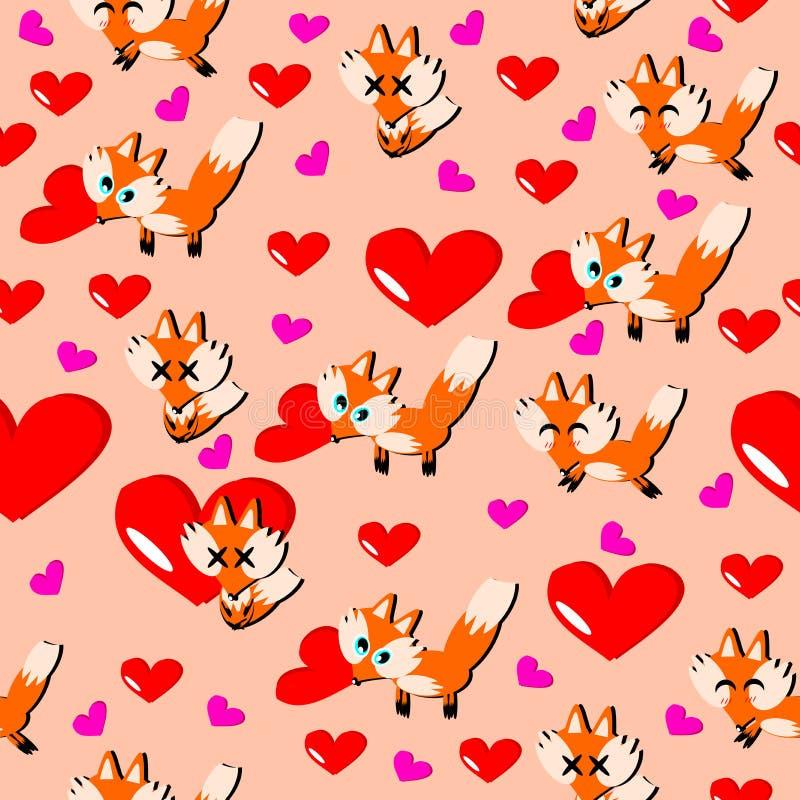 Ευτυχής ημέρα βαλεντίνων, εραστής αλεπούδων και καρδιά με το ρόδινο υπόβαθρο απεικόνιση αποθεμάτων