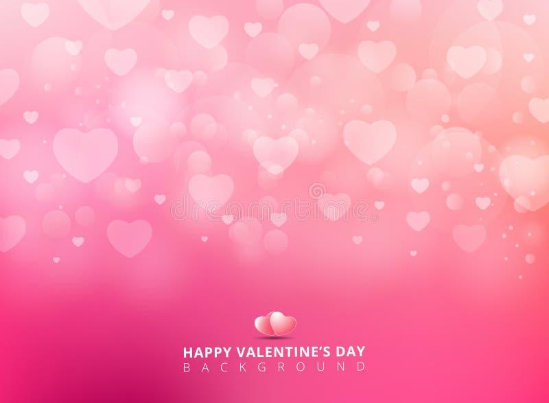 Ευτυχής ημέρα βαλεντίνων με τη λάμποντας καρδιά bokeh στο ρόδινο υπόβαθρο ελεύθερη απεικόνιση δικαιώματος