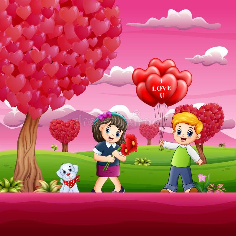 Ευτυχής ημέρα βαλεντίνων με το παιδί ζευγών στο ρόδινο κήπο ελεύθερη απεικόνιση δικαιώματος