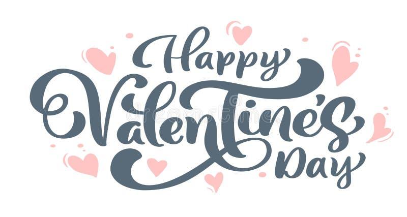 Ευτυχής ημέρα βαλεντίνων s φράσης καλλιγραφίας με τις καρδιές Διανυσματική συρμένη χέρι εγγραφή ημέρας βαλεντίνων Σκίτσο διακοπών διανυσματική απεικόνιση