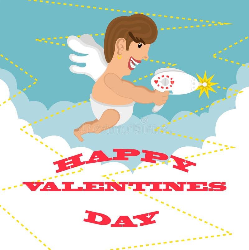 Ευτυχής ημέρα βαλεντίνων ευχετήριων καρτών Σχέδιο διανυσματική απεικόνιση