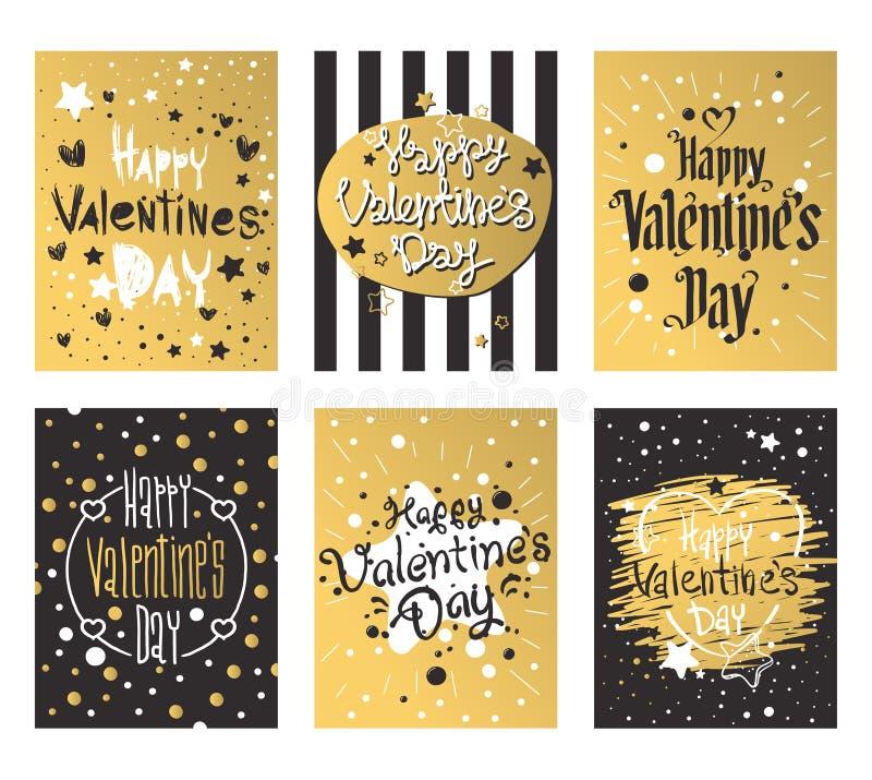 Ευτυχής ημέρα βαλεντίνων και βοτάνισμα του σχεδίου καρτών απεικόνιση αποθεμάτων
