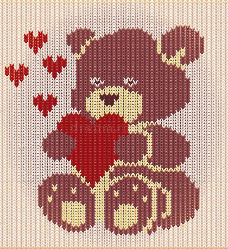 Ευτυχής ημέρα βαλεντίνων, πλεκτός teddy αντέχει τις καρδιές Υ, διάνυσμα διανυσματική απεικόνιση