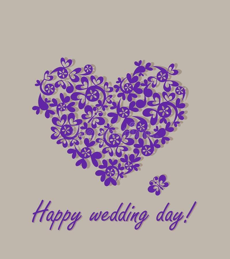 Ευτυχής ημέρα γάμου! Ευχετήρια κάρτα με την καρδιά εγγράφου ελεύθερη απεικόνιση δικαιώματος