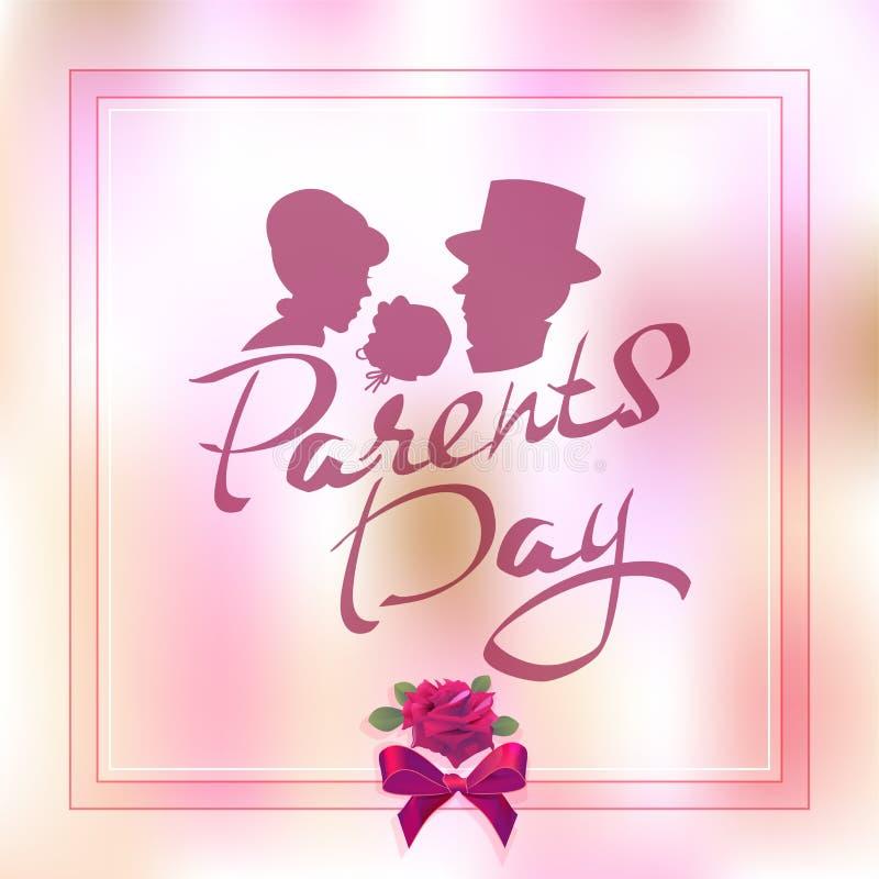 Ευτυχής ημέρα γονέων Σκιαγραφία της οικογένειας με το παιδί Γράφοντας κείμενο για τη ευχετήρια κάρτα διανυσματική απεικόνιση