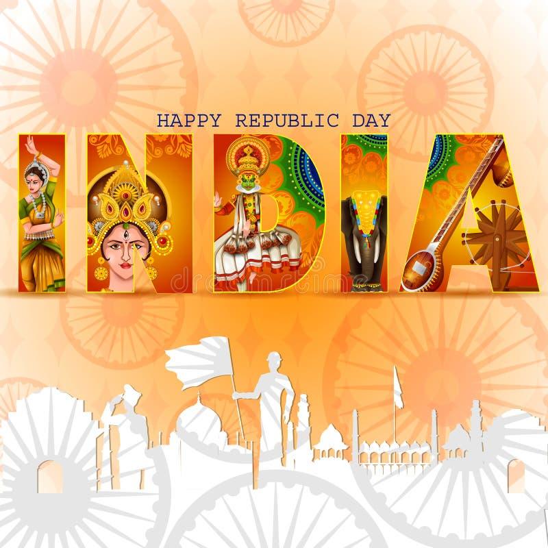 Ευτυχής ημέρα Δημοκρατίας του υποβάθρου tricolor της Ινδίας για την 26η Ιανουαρίου ελεύθερη απεικόνιση δικαιώματος
