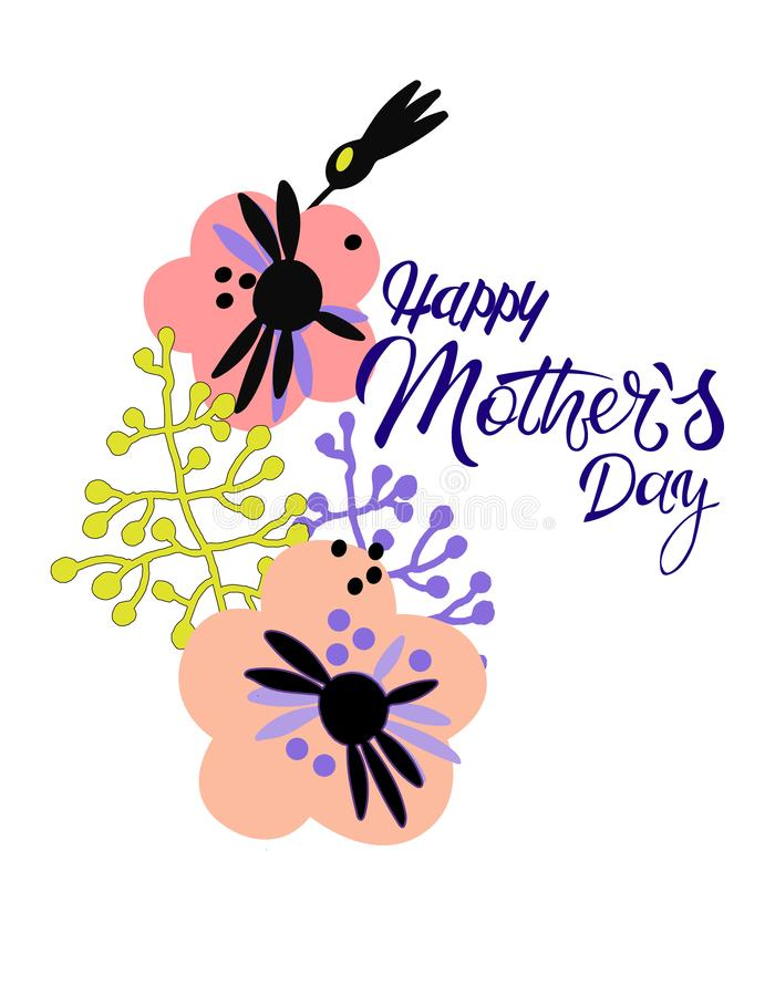 Ευτυχής ημέρα μητέρων Ευχετήρια κάρτα διακοπών στο Σκανδιναβικό ύφος Εγγραφή χεριών και minimalistic floral διακόσμηση απεικόνιση αποθεμάτων