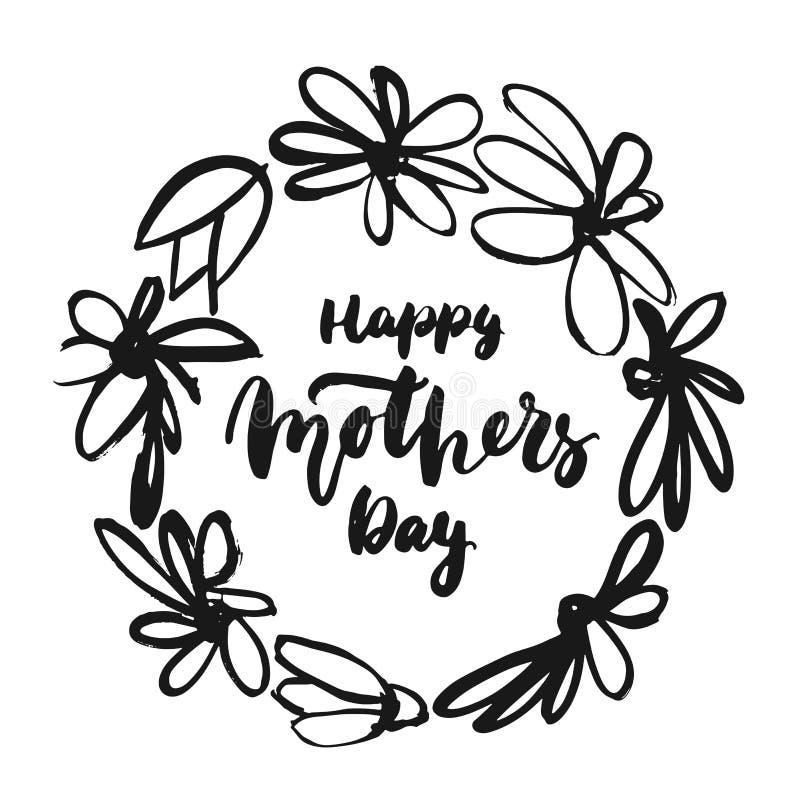 Ευτυχής ημέρα μητέρων ` s - συρμένη χέρι φράση εγγραφής με το στεφάνι λουλουδιών που απομονώνεται στο άσπρο υπόβαθρο Επιγραφή FO  απεικόνιση αποθεμάτων