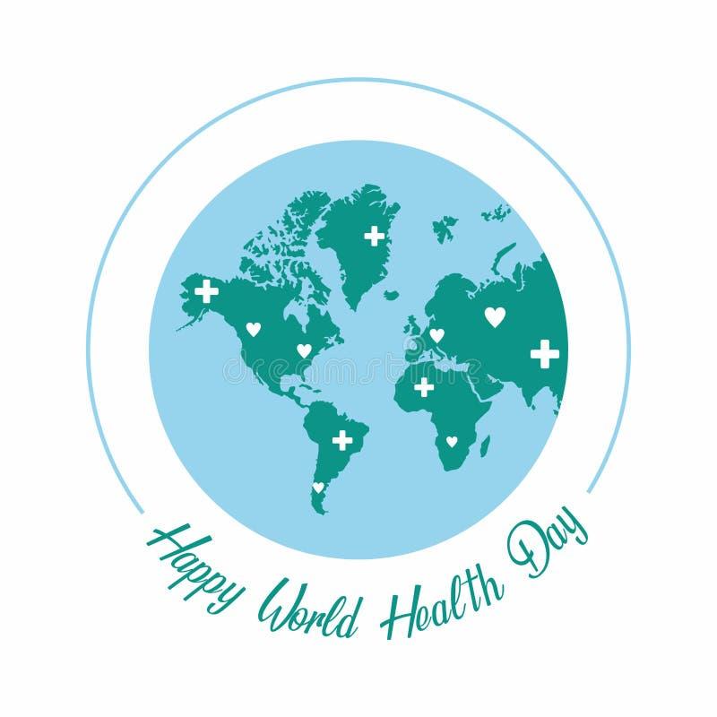 Ευτυχής ημέρα παγκόσμιας υγείας clipart με με τα παγκόσμια σύμβολα απεικόνιση αποθεμάτων