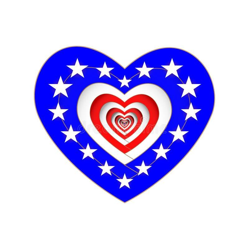 Ευτυχής ημέρα Προέδρων Μια καρδιά των χρωμάτων της αμερικανικής σημαίας Στοιχεία σχεδίου για τα γενέθλια της Ουάσιγκτον διάνυσμα  διανυσματική απεικόνιση