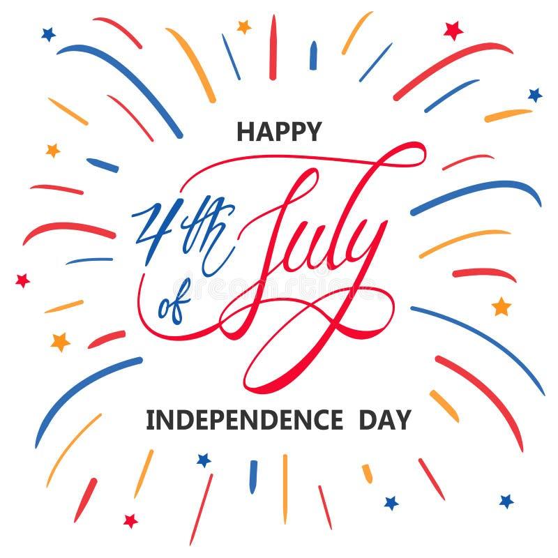 Ευτυχής ημέρα της ανεξαρτησίας ή 4ος υποβάθρου ή του εμβλήματος Ιουλίου του διανυσματικού γραφικού διανυσματική απεικόνιση