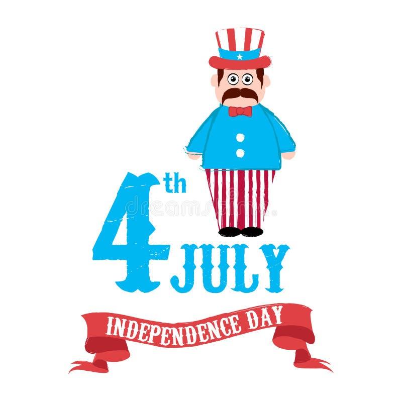 Ευτυχής ημέρα της ανεξαρτησίας 4η Ιουλίου διανυσματική απεικόνιση