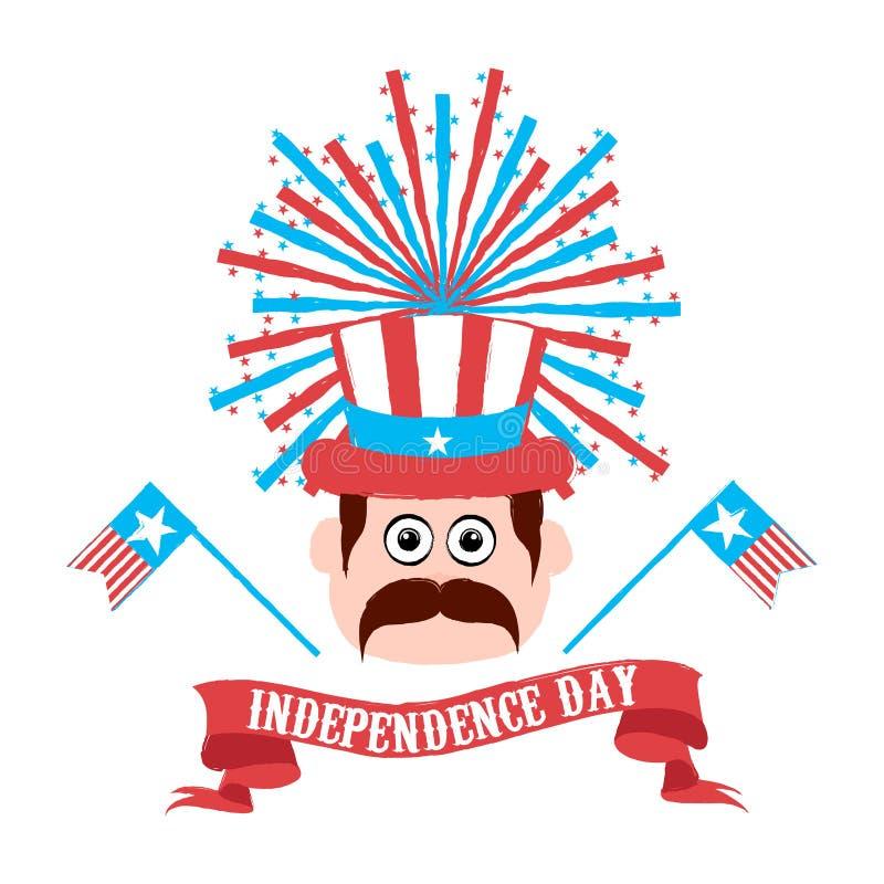 Ευτυχής ημέρα της ανεξαρτησίας 4η Ιουλίου απεικόνιση αποθεμάτων