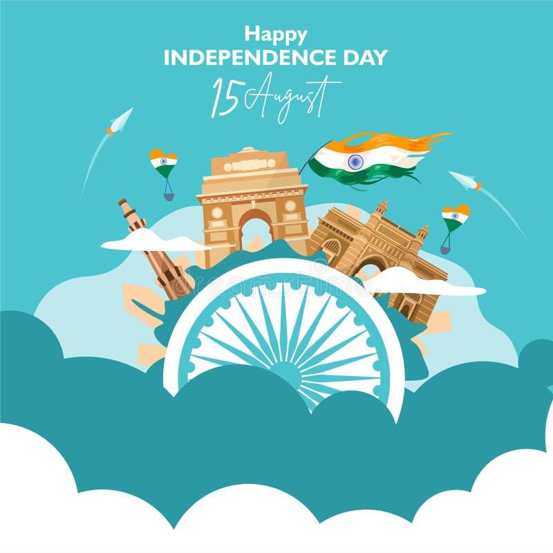 Ευτυχής ημέρα της ανεξαρτησίας Ινδία 15 Αυγούστου για το ιπτάμενο, αφίσα, σχέδιο υποβάθρου εμβλημάτων Με την έννοια η κληρονομιά  ελεύθερη απεικόνιση δικαιώματος