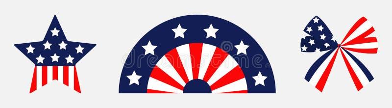 Ευτυχής ημέρα της ανεξαρτησίας Καθορισμένη γραμμή εικονιδίων κυμάτων αμερικανικών σημαιών μορφής αστεριών τόξων κορδελλών Αστέρια ελεύθερη απεικόνιση δικαιώματος