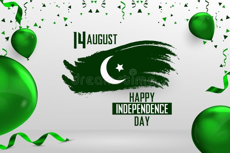 Ευτυχής ημέρα της ανεξαρτησίας Πακιστάν, στις 14 Αυγούστου πακιστανική ημέρα της ανεξαρτησίας απεικόνιση αποθεμάτων