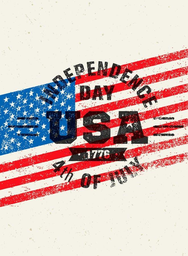 Ευτυχής ημέρα της ανεξαρτησίας Τραχιά διανυσματική έννοια στοιχείων σχεδίου απεικόνισης ΑΜΕΡΙΚΑΝΙΚΟΥ εορτασμού απεικόνιση αποθεμάτων