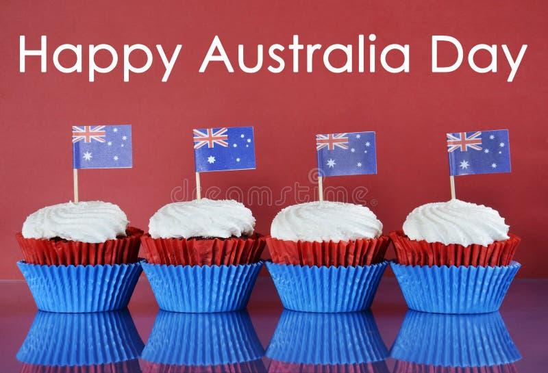 Ευτυχής ημέρα της Αυστραλίας cupcakes στοκ εικόνα