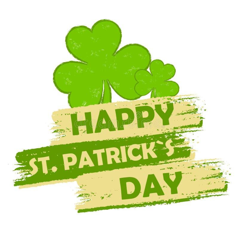 Ευτυχής ημέρα του ST Πάτρικ με τα σημάδια τριφυλλιών, πράσινο συρμένο έμβλημα απεικόνιση αποθεμάτων