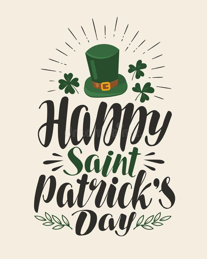 Ευτυχής ημέρα του ST Πάτρικ ` s, εκλεκτής ποιότητας ευχετήρια κάρτα Διακοπές, ιρλανδικό έμβλημα φεστιβάλ μπύρας Εγγραφή, διάνυσμα διανυσματική απεικόνιση