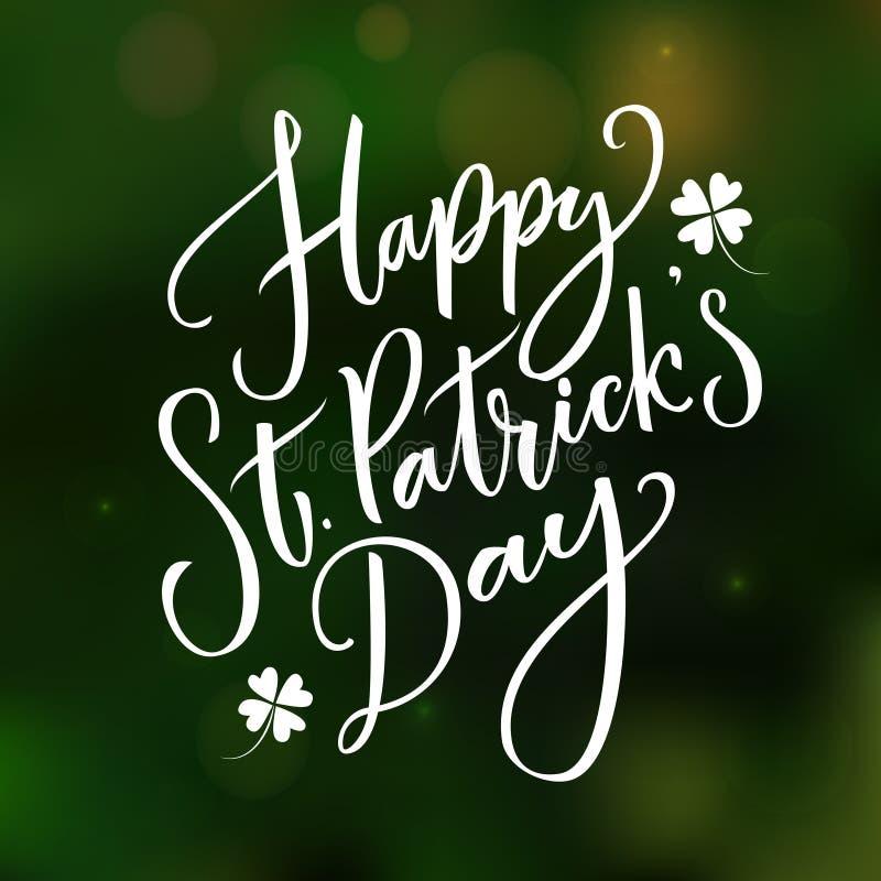 Ευτυχής ημέρα του ST Partick ` s - ευχετήρια κάρτα με την τυπογραφία στο σκούρο πράσινο θολωμένο υπόβαθρο ελεύθερη απεικόνιση δικαιώματος