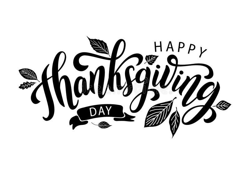 ευτυχής ημέρα των ευχαριστιών Συρμένη χέρι γράφοντας κάρτα κειμένων επίσης corel σύρετε το διάνυσμα απεικόνισης ελεύθερη απεικόνιση δικαιώματος