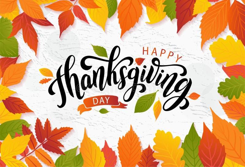 ευτυχής ημέρα των ευχαριστιών Συρμένη χέρι γράφοντας κάρτα κειμένων επίσης corel σύρετε το διάνυσμα απεικόνισης απεικόνιση αποθεμάτων