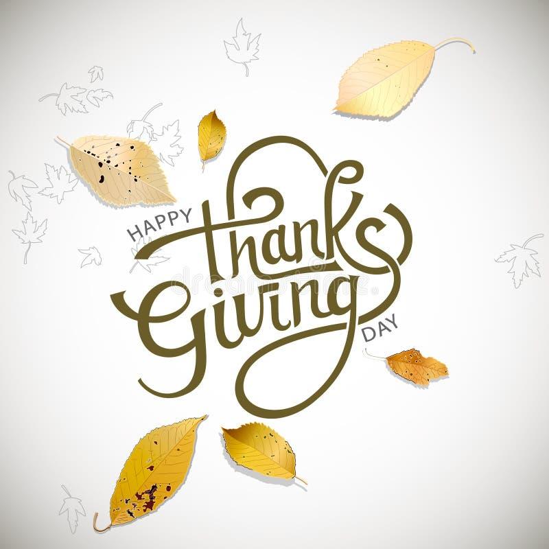 ευτυχής ημέρα των ευχαρι& Καλλιγραφία και υπόβαθρο φθινοπώρου επίσης corel σύρετε το διάνυσμα απεικόνισης διανυσματική απεικόνιση