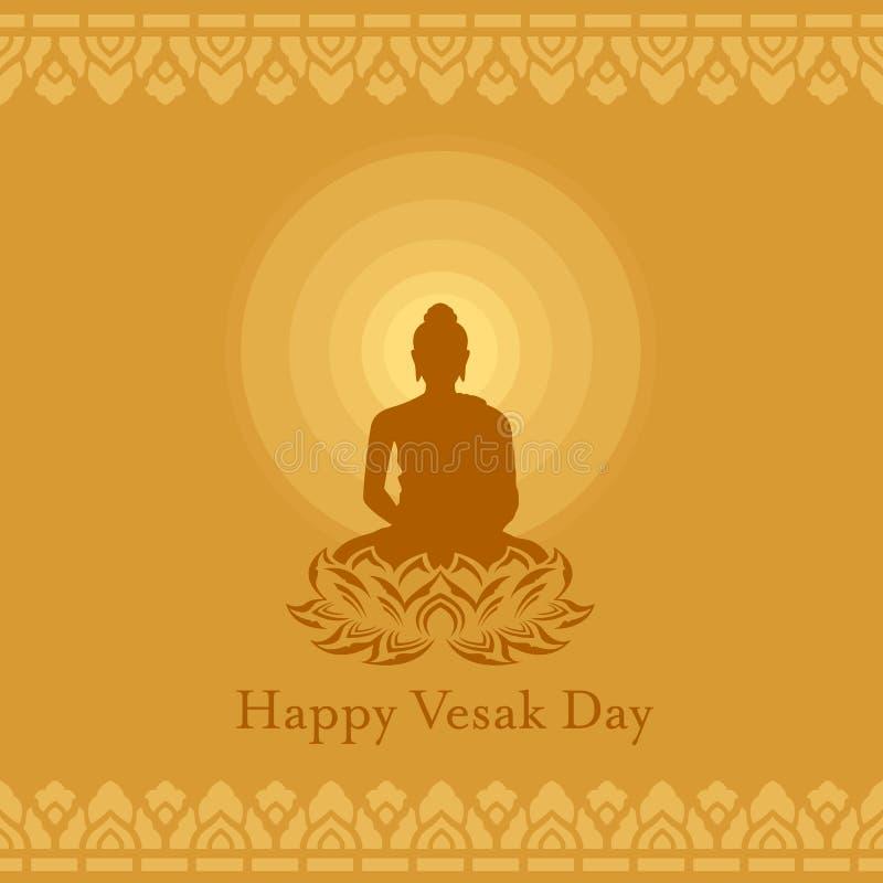 Ευτυχής ημέρα Vesak με το σημάδι λουλουδιών λωτού του Βούδα και την ακτίνα του φωτός στο κίτρινο καφετί διανυσματικό σχέδιο τέχνη ελεύθερη απεικόνιση δικαιώματος