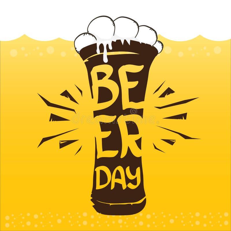 Ευτυχής διανυσματική γραφική αφίσα ημέρας μπύρας διανυσματική απεικόνιση