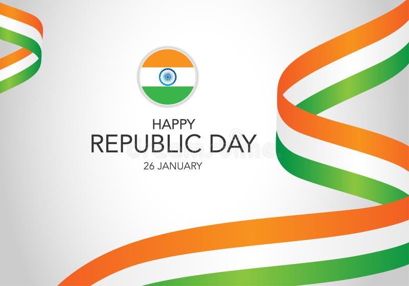 Ευτυχής ινδική ημέρα δημοκρατιών Πρότυπο της ευχετήριας κάρτας, έμβλημα με την εγγραφή Κυματίζοντας ινδικές σημαίες που απομονώνο απεικόνιση αποθεμάτων