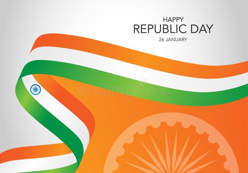 Ευτυχής ινδική ημέρα δημοκρατιών Πρότυπο της ευχετήριας κάρτας, έμβλημα με την εγγραφή Κυματίζοντας ινδικές σημαίες που απομονώνο διανυσματική απεικόνιση