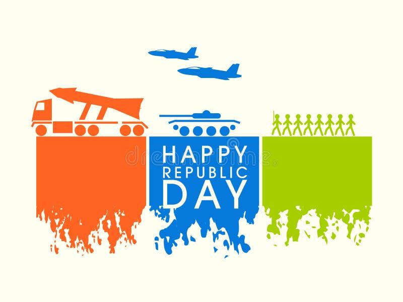 Ευτυχής ινδική έννοια εορτασμού ημέρας Δημοκρατίας απεικόνιση αποθεμάτων
