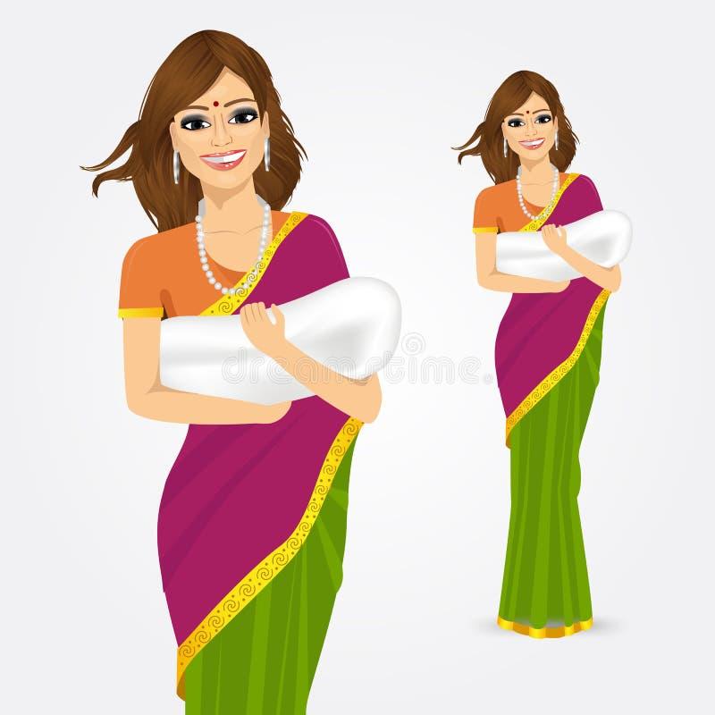 Ευτυχής ινδική μητέρα που κρατά το μωρό της ελεύθερη απεικόνιση δικαιώματος