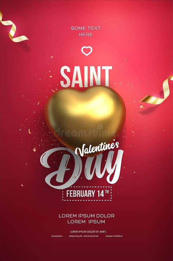 Ευτυχής ιπτάμενο ή αφίσα ημέρας βαλεντίνων ` s Τοπ άποψη σχετικά με τη χρυσή καρδιά ελεύθερη απεικόνιση δικαιώματος
