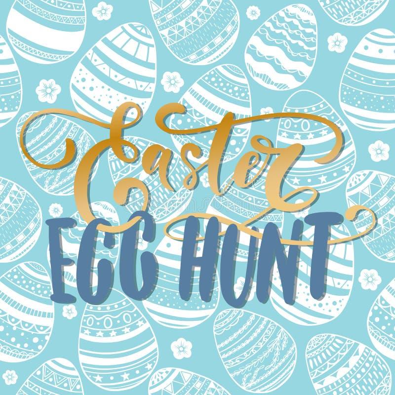 Ευτυχής κάρτα εορτασμού διακοπών του Κυνηγίου αυγών Πάσχας με συρμένο το χέρι σχέδιο εγγραφής στο άνευ ραφής διακοσμητικό σχέδιο  απεικόνιση αποθεμάτων