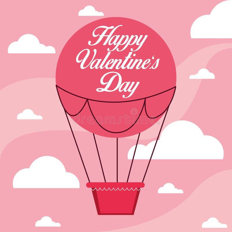 Ευτυχής κάρτα ημέρας βαλεντίνων με τον αέρα μπαλονιών καυτό ελεύθερη απεικόνιση δικαιώματος