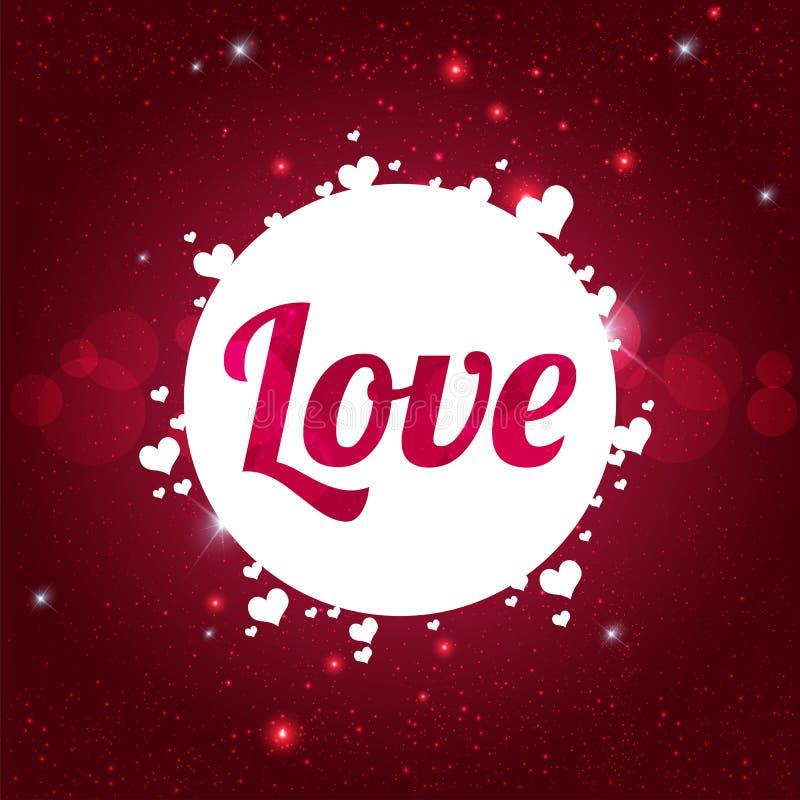 Ευτυχής κάρτα ημέρας βαλεντίνων ` s ΑΓΑΠΗΣ στο λαμπρό κόκκινο υπόβαθρο με τις καρδιές απεικόνιση αποθεμάτων