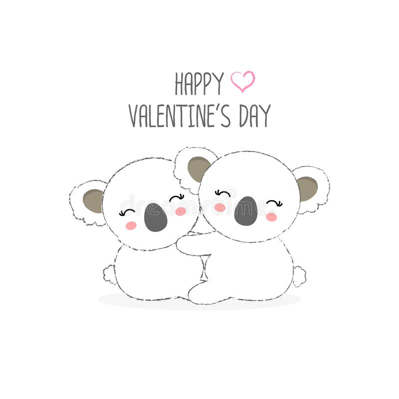 Ευτυχής κάρτα ημέρας βαλεντίνων ` s Γλυκιά διανυσματική απεικόνιση κινούμενων σχεδίων Koala ζευγών ελεύθερη απεικόνιση δικαιώματος