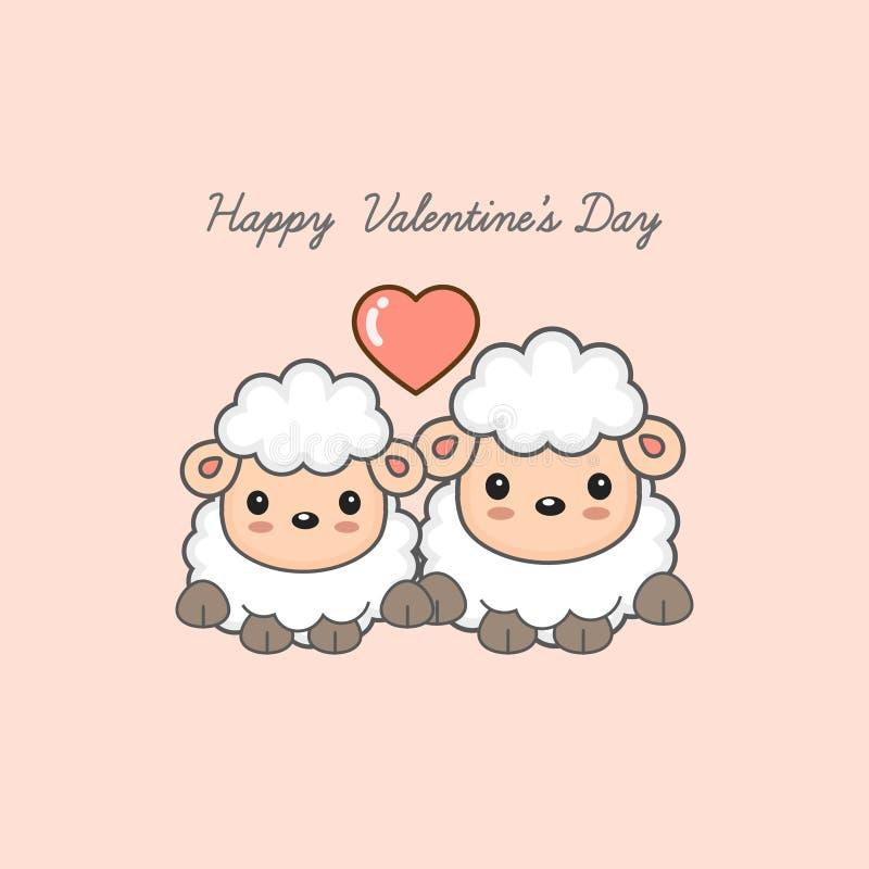 Ευτυχής κάρτα ημέρας βαλεντίνων ` s Γλυκιά διανυσματική απεικόνιση κινούμενων σχεδίων ζώων ζευγών απεικόνιση αποθεμάτων