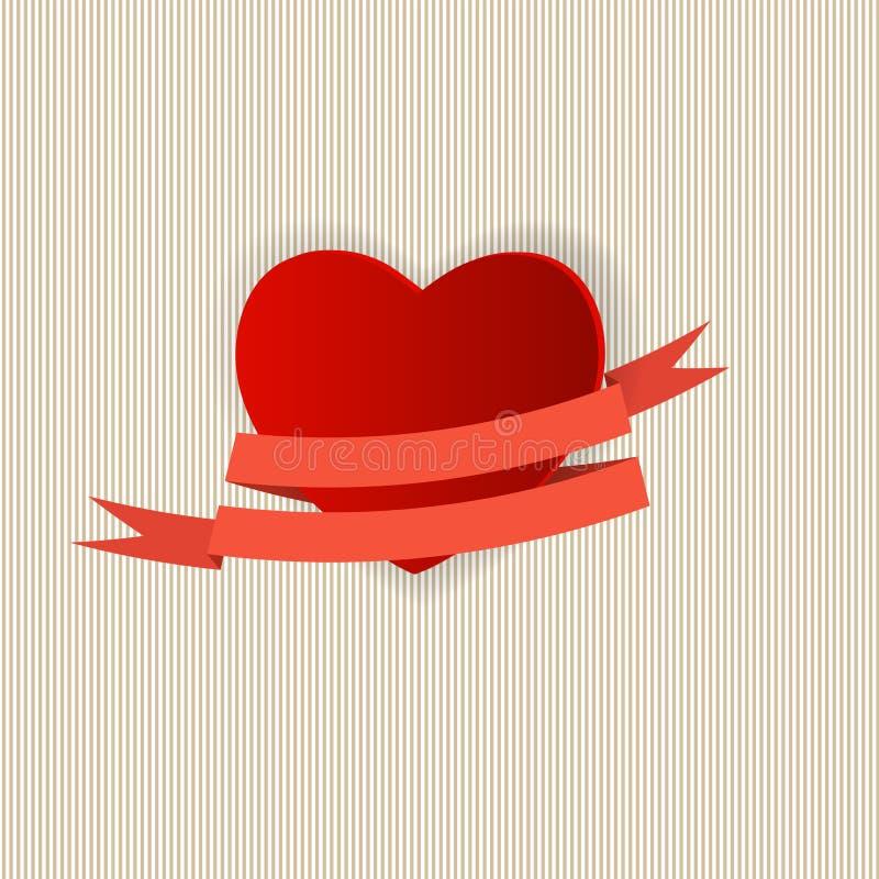 Ευτυχής κάρτα ημέρας βαλεντίνων με την καρδιά. Διάνυσμα απεικόνιση αποθεμάτων