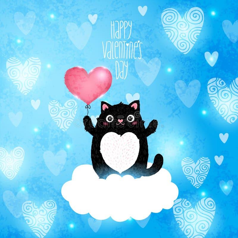 Ευτυχής κάρτα ημέρας βαλεντίνων με τη γάτα διανυσματική απεικόνιση