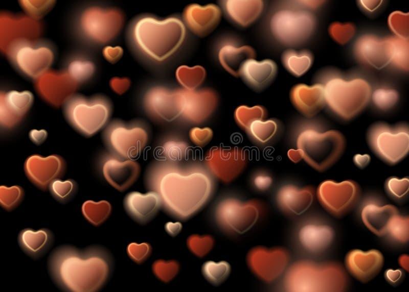 Ευτυχής κάρτα ημέρας βαλεντίνων με τη χρυσή ακτινοβολώντας καρδιά σκόνης αστεριών, ελεύθερη απεικόνιση δικαιώματος