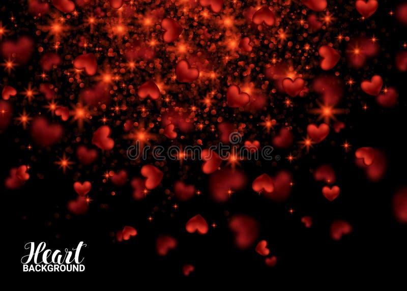 Ευτυχής κάρτα ημέρας βαλεντίνων με τη χρυσή ακτινοβολώντας καρδιά σκόνης αστεριών ελεύθερη απεικόνιση δικαιώματος