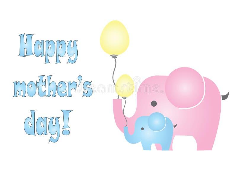 Ευτυχής κάρτα ημέρας μητέρων με το διάνυσμα ελεφάντων διανυσματική απεικόνιση