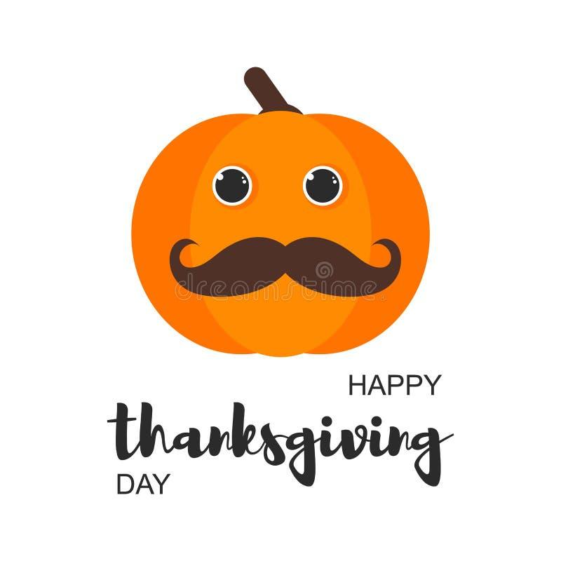 Ευτυχής κάρτα ημέρας των ευχαριστιών με την κολοκύθα απεικόνιση αποθεμάτων