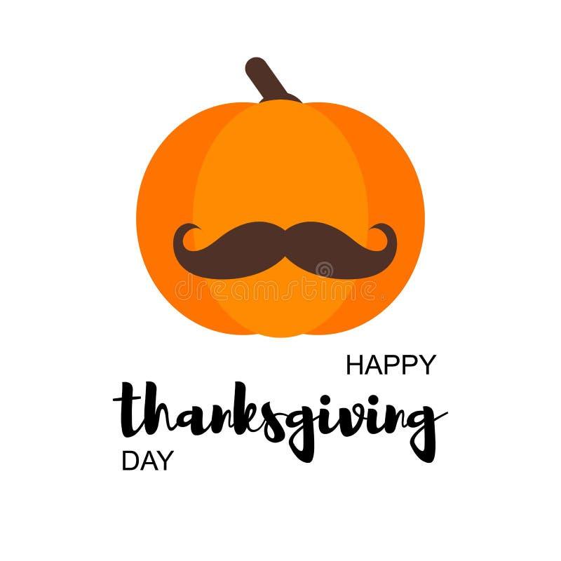 Ευτυχής κάρτα ημέρας των ευχαριστιών με την κολοκύθα διανυσματική απεικόνιση