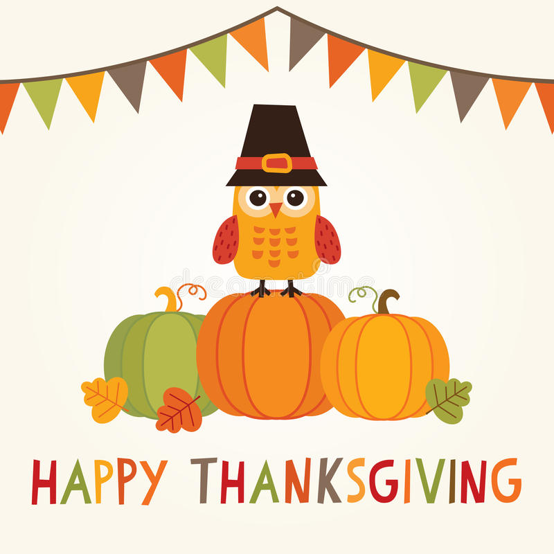 Ευτυχής κάρτα ημέρας των ευχαριστιών με την κουκουβάγια στο καπέλο προσκυνητών στις κολοκύθες ελεύθερη απεικόνιση δικαιώματος